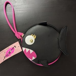 Betsey Johnson Bags - Luv Betsey Black Shark Round Coin Purse